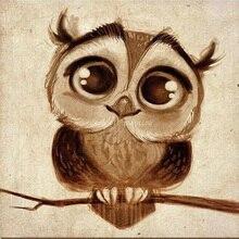 Дизайн Ручная роспись Современные Аннотация Забавные Животные Сова маслом на канва для декора ручной работы Прекрасные большие глаза птица картины