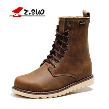 Z.SUO Brand Cow Split Upper Rubber Outsole Men's Boots Brown Lace Up Flat with Soft Comfortable Lining Male Martin Boots ZS168