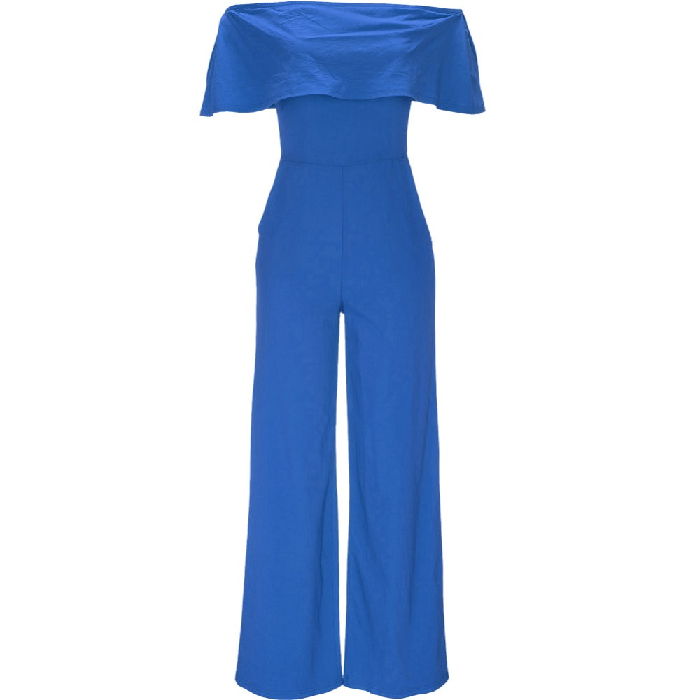 OMILKA Ruffle Jumpsuits 2017 Women Sleeveless Sexy Orange Blue Black Club Party Off the Shoulder Wide Leg Romers and Jumpsuits
