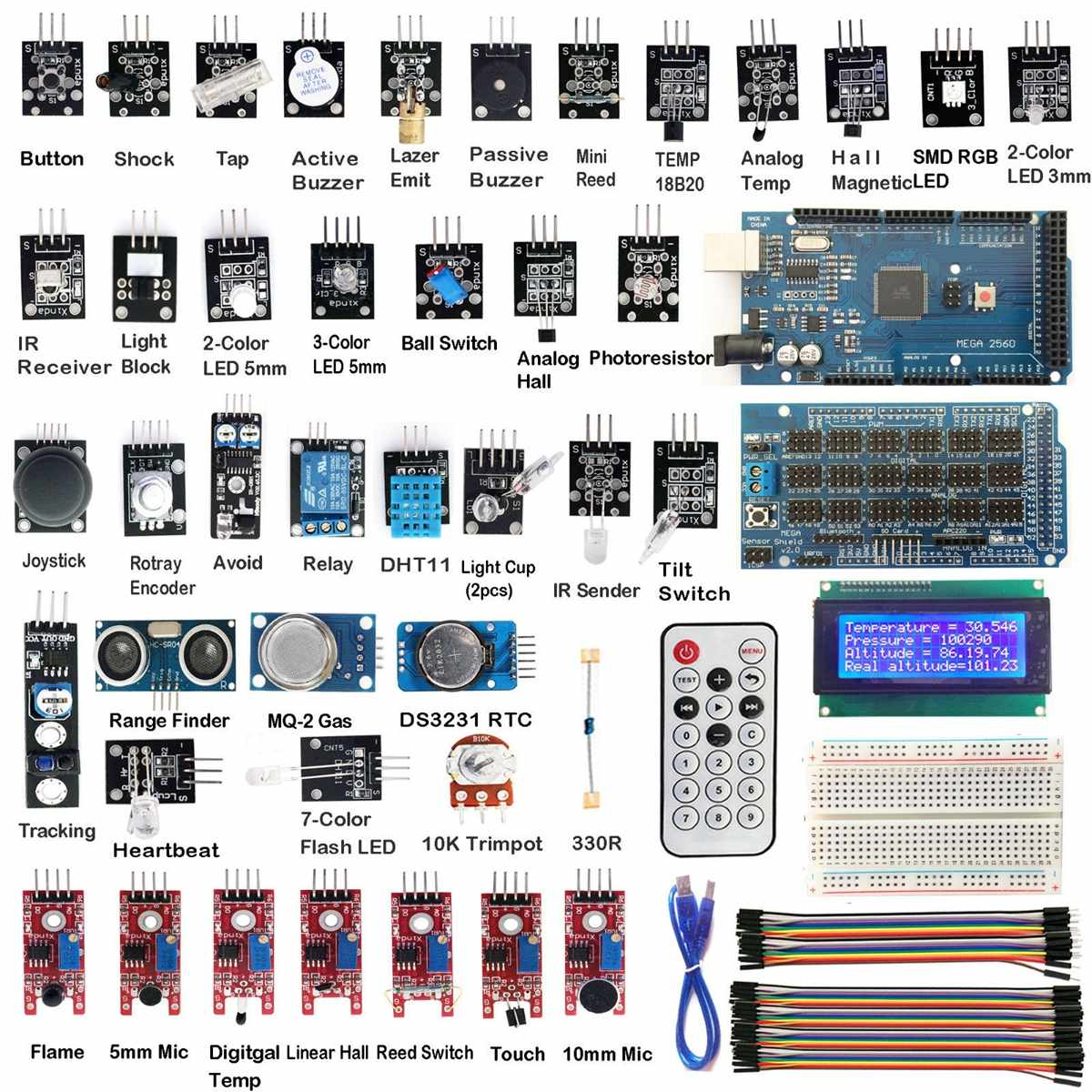 1 pc Nouvelle Arrivée MEGA2560 R3 40 Modules Capteurs Kit De Démarrage IIC 20X4 2004 D'affichage à cristaux liquides Pour Arduino capteurs