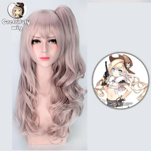 Anime Girls Frontline Cosplay Wig Synthetic Hair Ump45 UMP9 Halloween Costume Wavy Long Pink Ponytail Wig + Free Cap цена 2017