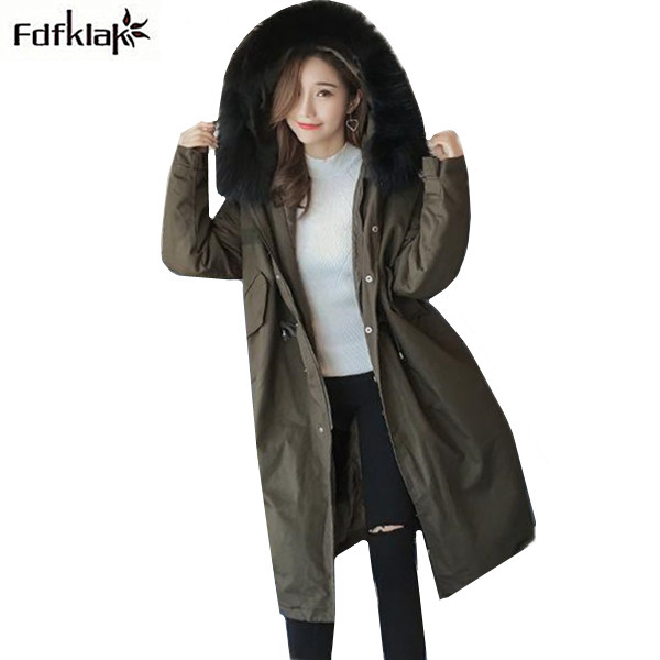Fdfklak Thick Winter Jacket Women Long Coat Female Cotton Outerwear Parka Womens Winter Jackets Large Fur Collar Ladies Coats 10 40 teeth wood t c t circular saw blade nwc104f global free shipping 250mm carbide cutting wheel same with freud or haupt