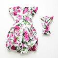 Macacão de bebê 2016 novo estilo de flor boutique de roupas de bebê matched headband vintage floral romper do bebê recém-nascido do bebê roupas de menina