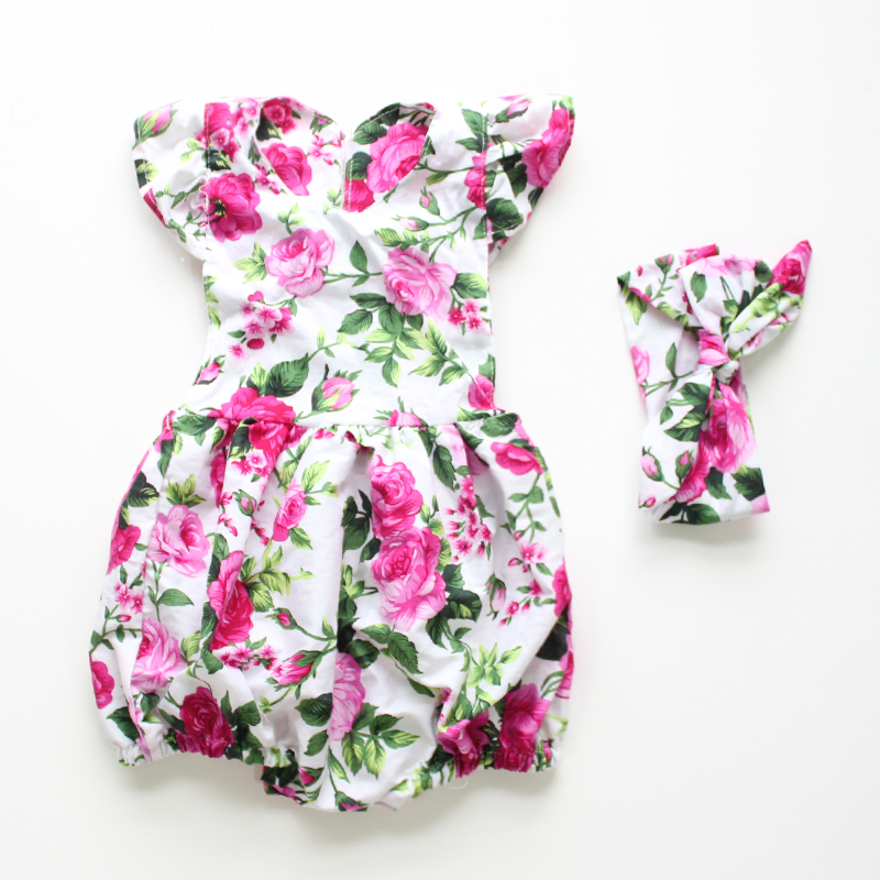 baby rompers 2016 new style boutique flower baby clothes matched headband vintage floral romper newborn baby baby girl clothes