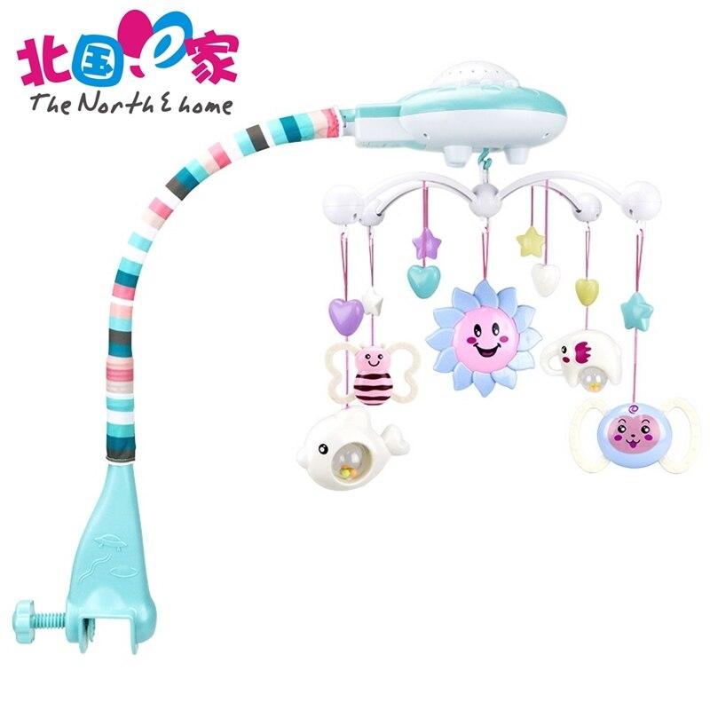 Детская кровать колокол От 0 до 1 года новорожденных 0-12 месяцев игрушка Вращающийся Музыка висит погремушку кронштейн комплект прекрасные д...