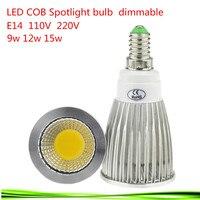 50X E14 9W 12W 15W 85 265V LED Spotlight Dimmable Led COB Spotlights Warm/Natural/Cool White E14 downlight LED lamp light
