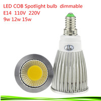 50X E14 9W 12W 15W 85 265V LED Spotlight Dimmable Led COB Spotlights Warm/Natural/Cool White E14 downlight LED lamp light