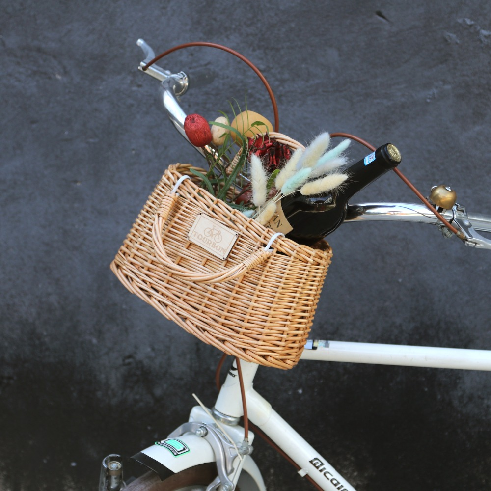 Cycling Style Front Handlebar Wicker Bike Bicycle Basket Small Size