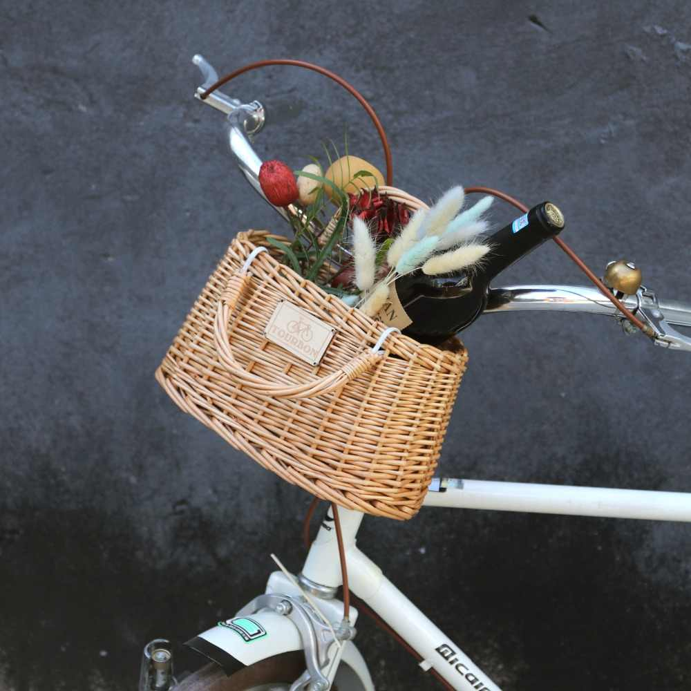 Bicycle Wicker Basket Vintage Bike Front Basket with Artificial Leather Straps