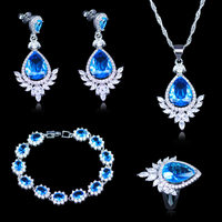 Trendy Sky Blue Cubic Zirconia 925 Stamp Silver Color Jewelry Sets For Women Jewelery Earrings Bracelet Necklace Ring Free Box