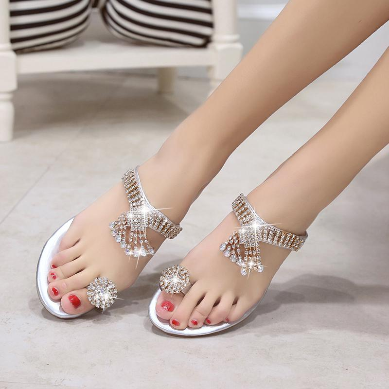 d47a167a7 Gold Silver Beach Shoes Women Rhinestone Sandals Designer Version Summer  Shoes Slides crystal sandals slippers flip flops women-in Flip Flops from  Shoes on ...