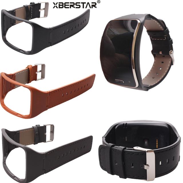 Correa para la muñeca correa de cuero genuino para samsung gear s sm-r750 smart watch