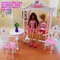 Бесплатная доставка девушка подарок на день рождения пластиковый играть садовая мебель, Качели подарочный комплект кукла мебельной фурнитуры для куклы барби