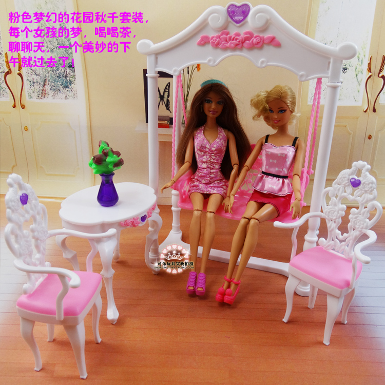Free Transport Lady birthday present plastic Play Set Backyard furnishings, swing Present Set doll furnishings equipment for barbie doll