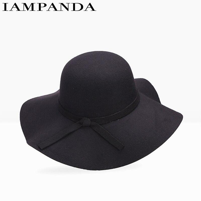 chapeau iampanda merek 2017 busana musim panas wanita pantai topi matahari jazz fedoras vintage murni