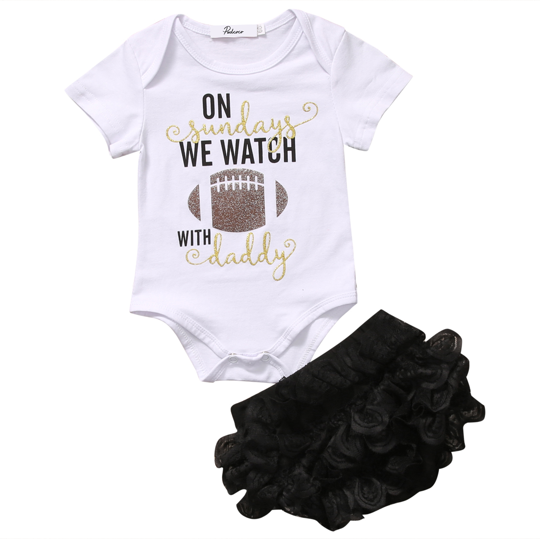 0-18M Cute Clothes Babies Summer Letters Clothing Set Toddler Baby Girl Football Printing bodysuit +Lace Floral Ruffle Shorts cute toddler baby girl cotton floral leopard bodysuit shoe hairband 3pcs outfits set summer newborn baby girl clothes