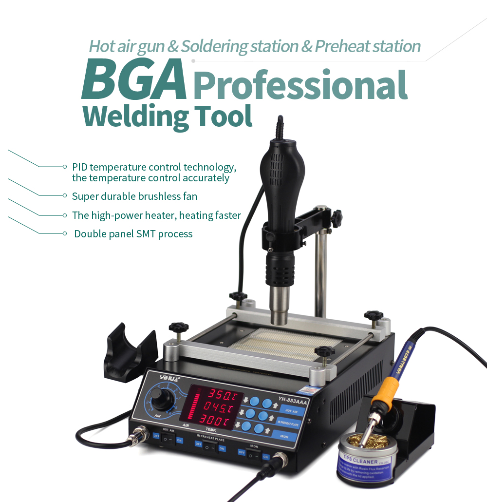 Yihua 853AAA 650W SMD Hot Air Gun+ 60W Soldering Irons +500W Preheating Station 3 Functions in 1 Bga Rework Station