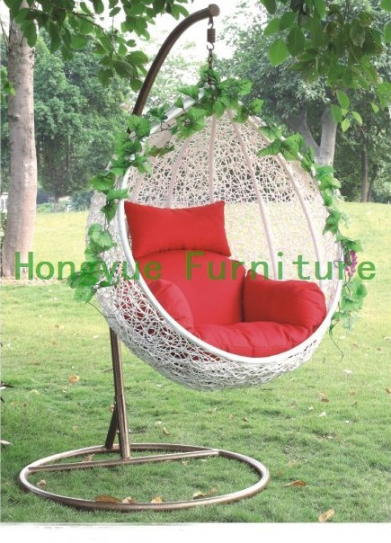 Outdoor Egg Shape White Rattan Hanging Basket Furniture Patio Swing