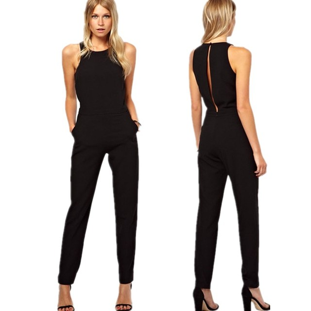 Xs-xxl 2016 Sexy negro tamaño más mujeres del otoño Patchwork SleevelessTops Jumpsuits o-cuello de hendidura larga mamelucos macacão Feminino