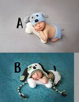 Jane Z Ann Newborn photography props 2 types lovely dog costume hat+bloomers+bone handmade knitting studio photography clothes