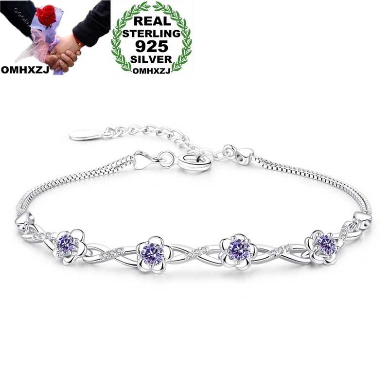 OMHXZJ Wholesale European Fashion Woman Girl Party Birthday Wedding Gift Flower AAA Zircon S925 Sterling Silver Bracelet BA110