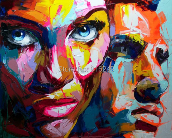 Free fast shipping hand painted nielly faces oil painting for Imagenes de cuadros abstractos famosos