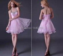 2016 mode Mädchen Kurze Geschwollene Cocktailkleider Rosa YY90