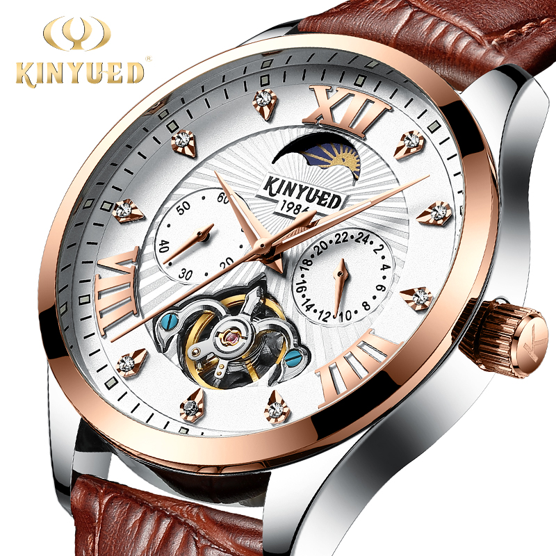 KINYUED Top Brand Luxury Diamond Chronograph Men Automatic Watch Mechanical Skeleton Wristwatches Leather Moon Phase Arm
