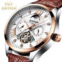 806c1eb5ce5 KINYUED Top Marca de Luxo Diamante Cronógrafo Homens Fase Da Lua Relógio  Automático Esqueleto Mecânico Relógios