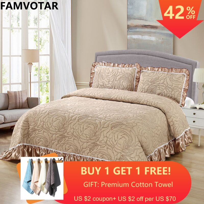 Famvotar Premium 3 Pieces Quilted Coverlets Bedspreads 3D Vibrant Floral Pattern Embroidery Cotton Bedspreads King Queen