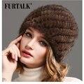 Russo Mulheres Natural Fur cap chapéu gorro de pele de vison pele do inverno chapéu de malha de Luxo