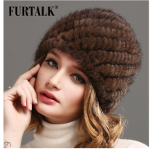 Luxury mink fur hat winter stripe toe cap covering Factory Price