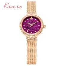 KIMIO Elegante Oro Rosa Band Purple Dial Reloj de pulsera Para Las Señoras de Lujo Femenino de Cristal de Diamante Relojes de Cuarzo Relogio Feminino