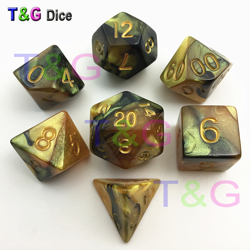 7pcs/set Mix Color Golden Digital Dice Set Dungeons And Dragons,RPG D4 D6 D8 D10 D% D12 D20  Promotion Toy GIFT