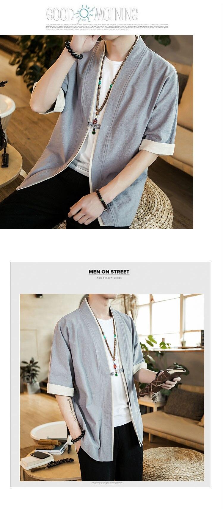 HTB1uOUatDJYBeNjy1zeq6yhzVXap 2019 Men Cotton Linen Jacket China Style Kongfu Coat Male Loose Kimono Cardigan Overcoat Open Stitch Coat Mens Windbreaker 5XL