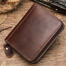 PNDME high quality retro simple genuine leather card bag soft top layer cowhide zipper credit small coin purses