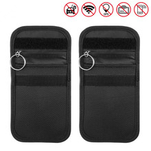2pcs Car Key Signal Blocker Case Keyless Entry Fob Guard Blocking Pouch Anti Theft Lock Device Protector Bag WiFi