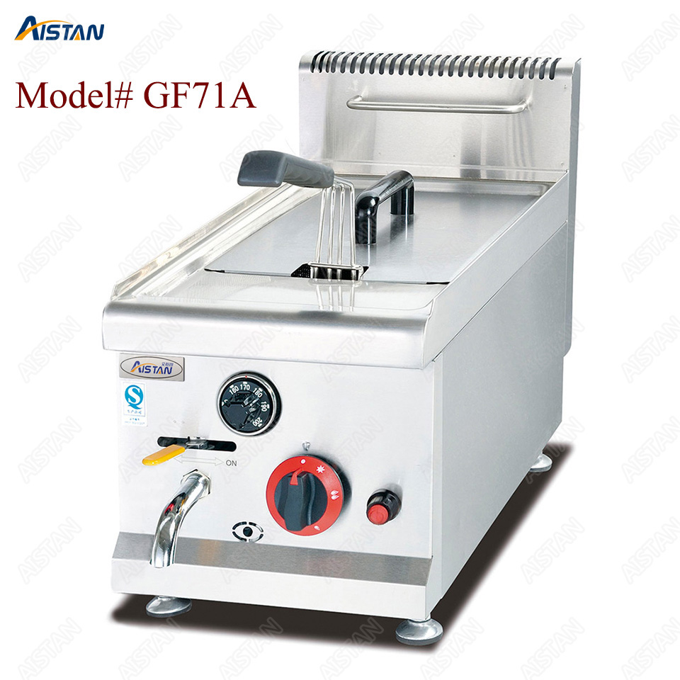 GF71A/GF72A/GF73A commercial counter top stainless steel big volume lpg gas chicken deep fryer machine with basket 1