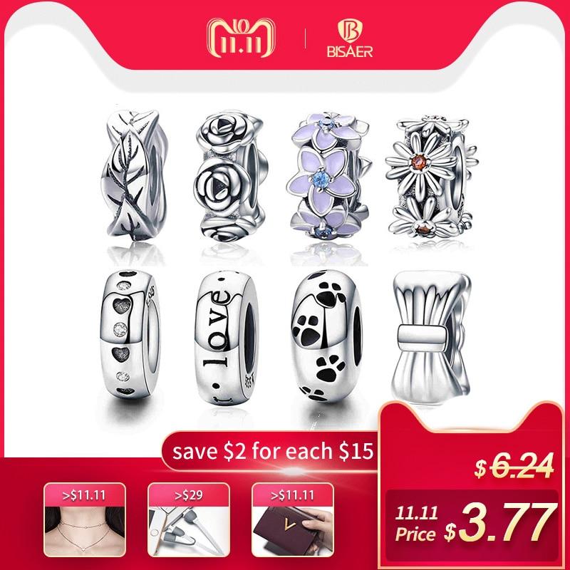 BISAER 100% 925 Sterling Silver Spacer Tree Leaves Leaf Stopper Beads fit Femme Bracelet & Bangles 925 Silver Jewelry GXC597 цена 2017