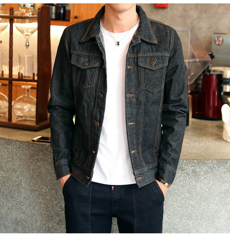 Solid Casual Slim Mens Denim Jacket Plus Size 4XL Bomber Jacket Men High Quality Cowboy Mens Jean Jacket Chaqueta Hombre Male
