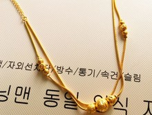 Popular Korean jewelry 24k gold-plated round beads snake anklets elegant woman wedding engagement gifts
