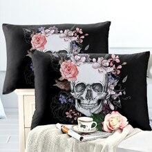 Sugar Skull Pillowcase Pink Rose Flowers Print Pillow Case Halloween Pillow Case Soft Bedclothes Ladies Sweet Pillow Cover D45