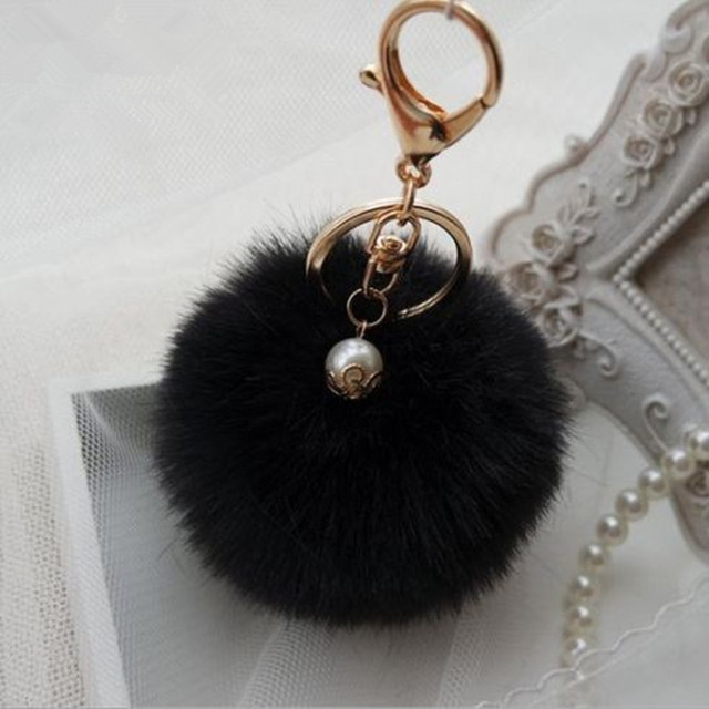 10 Colors Handbag Charm Key Ring Rabbit Fur Ball PomPom For Phone Car Bag Keychain