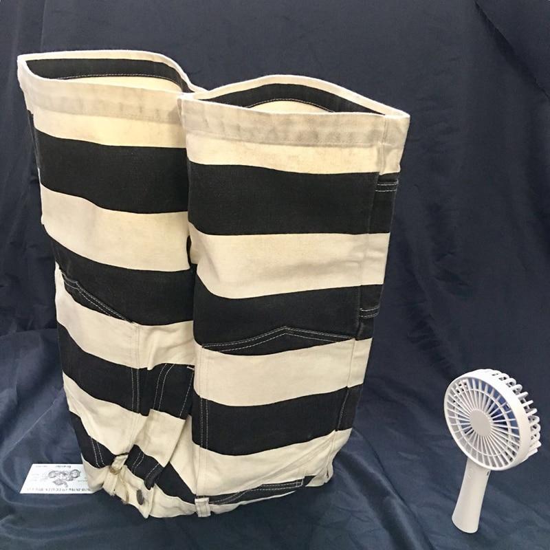 16oz Stripes Motorcycle Pants Heavy Prison Uniform Work Trousers Mens Long Pants