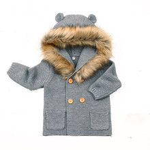 Dwayne Winter Warm Newborn Baby Sweater Fur Hood Detachable