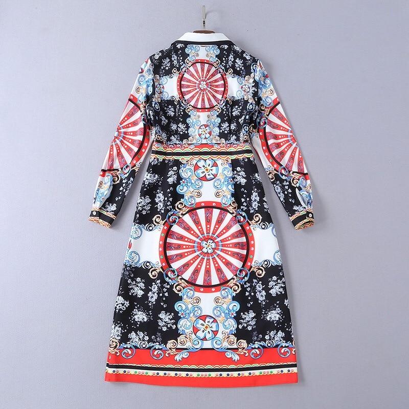 Couture Grâce Hiver 2019 Genou Fleurs Gloria Et Vintage Haute Elegan Robe Imprimer Xl Lengt Roue Automne Droite Motif Floral wI5q5T
