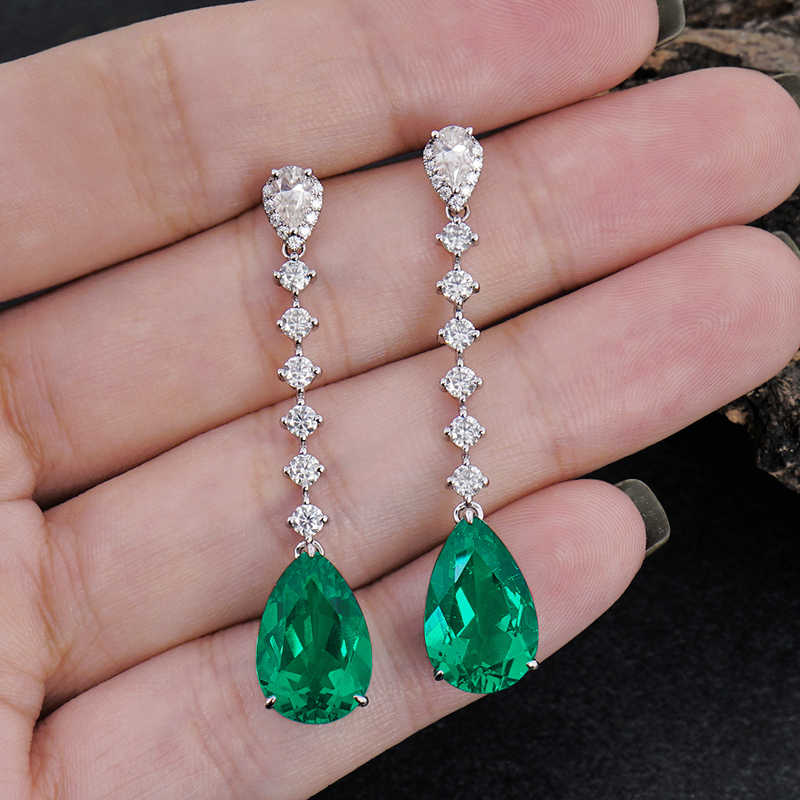 Lab Colombia Total 6ctw Pear Emerald Cut 3ct 2pcs Earrings Solid 14K White Gold Halo Moiaasnite Earrings Fine Jewelry For Women