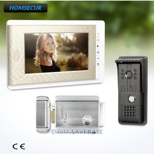 HOMSECUR 1V1+Electric Lock Kit 7inch HAND-FREE Wired Video Door Phone Intercom System With Intra-monitor Audio Intercom