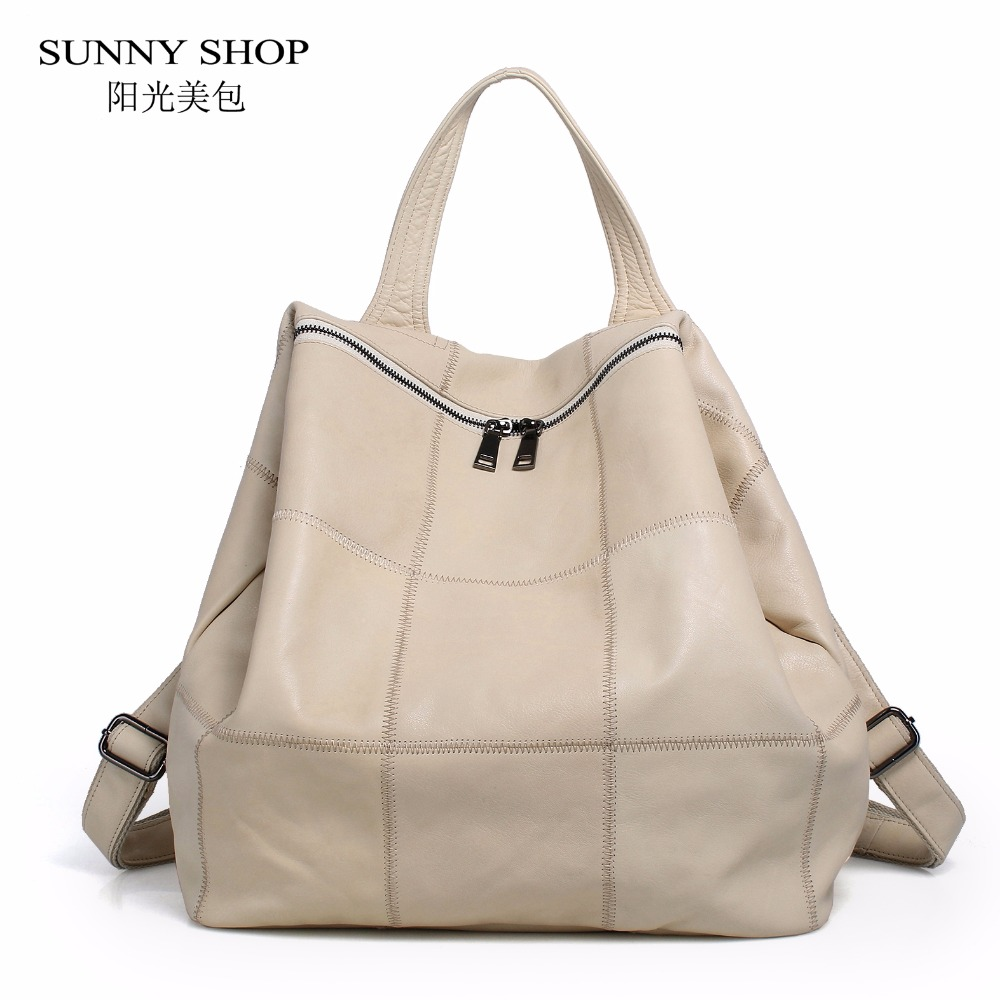 SUNNY SHOP 100 Genuine Leather Backpack Women Plaid Leather School Backpack Laptop Bagpack Causal Daypack Travel