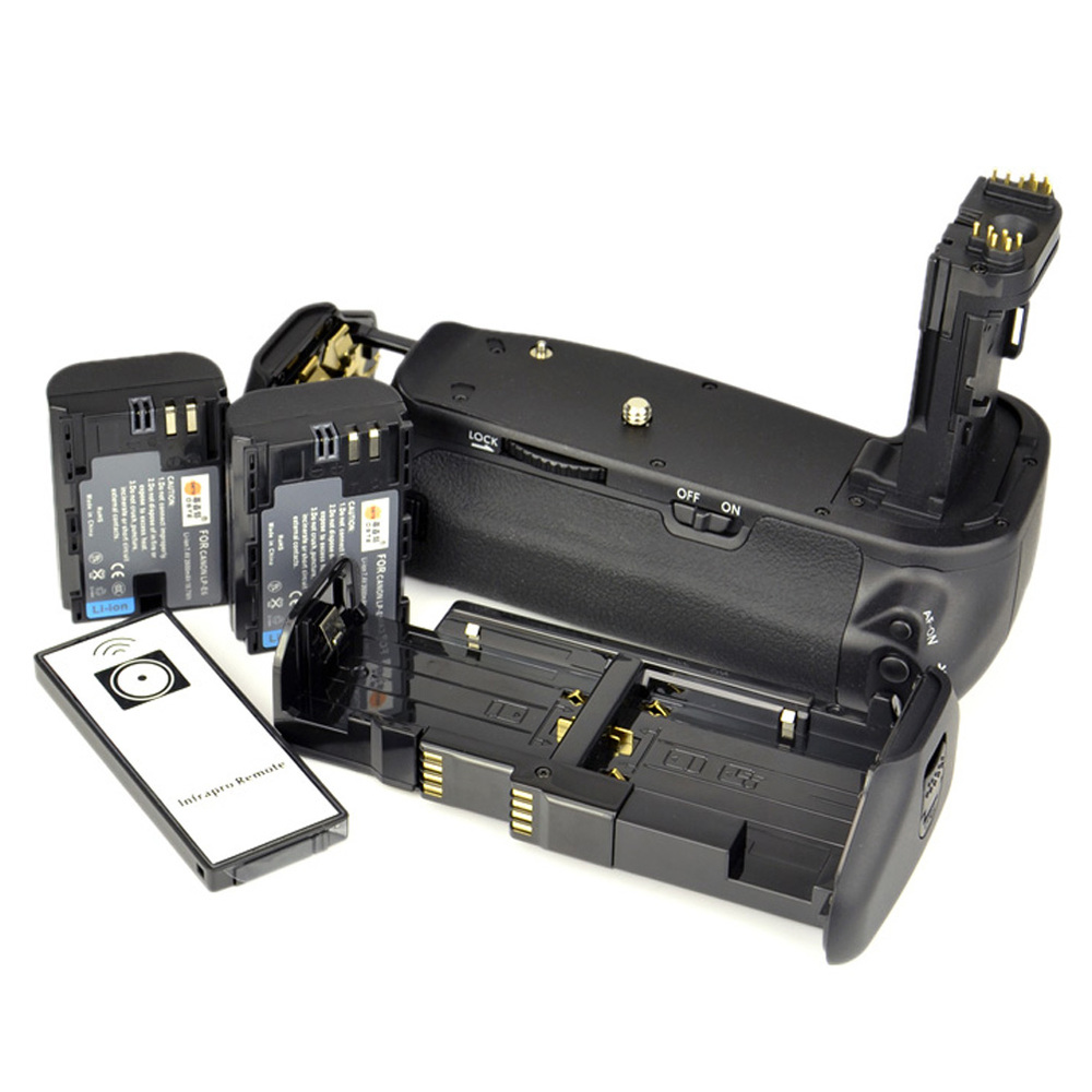 DSTE Multi-Power Vertical Battery Grip + Remote Control + 2 x LP-E6 Battery  For Canon 6D Digital SLR Camera
